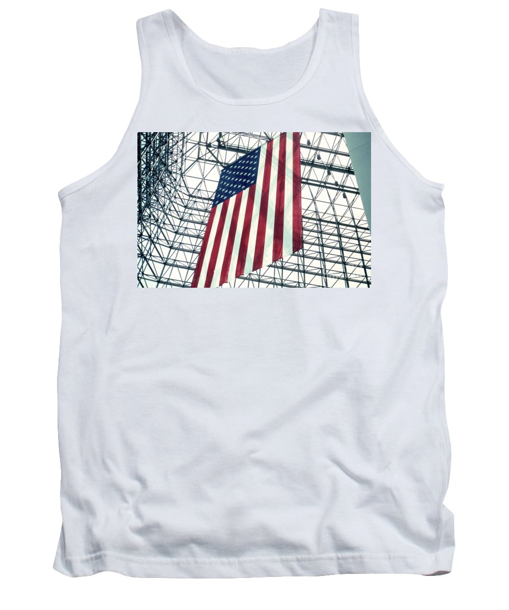 Flag Tank Top featuring the photograph American Flag In Kennedy Library Atrium - 1982 by Thomas Marchessault