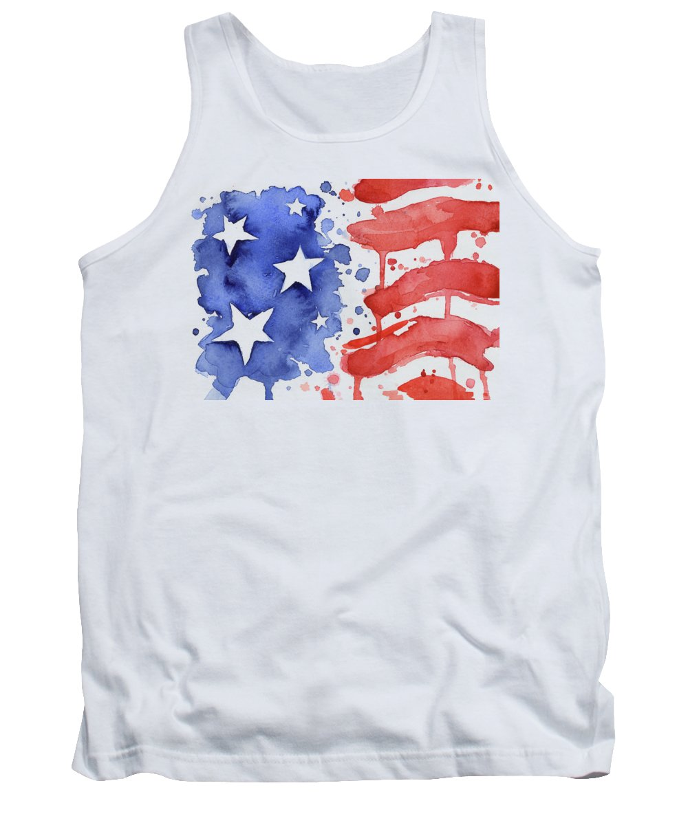Red Tank Top featuring the painting American Flag Watercolor Painting by Olga Shvartsur