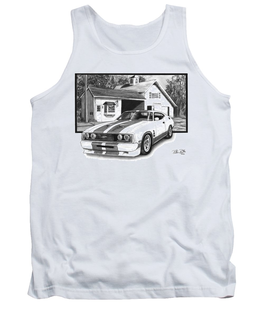 American Heartland 1978 Ford Cobra Tank Top featuring the drawing American Heartland by Peter Piatt