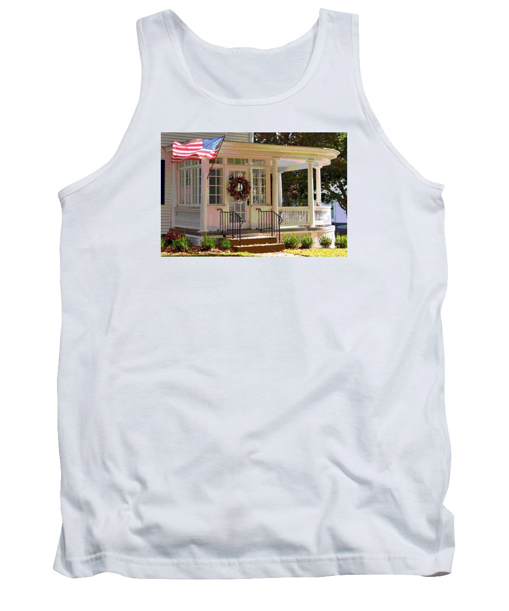 America Tank Top featuring the photograph American Porch by Marcel J Goetz Sr