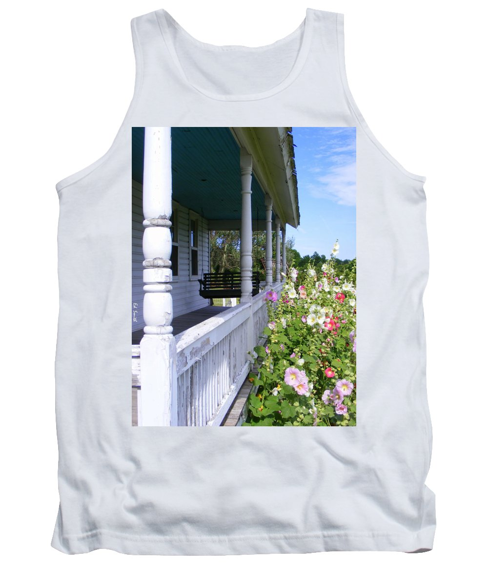 Amish Porch Tank Top featuring the photograph Amish Porch by Ed Smith