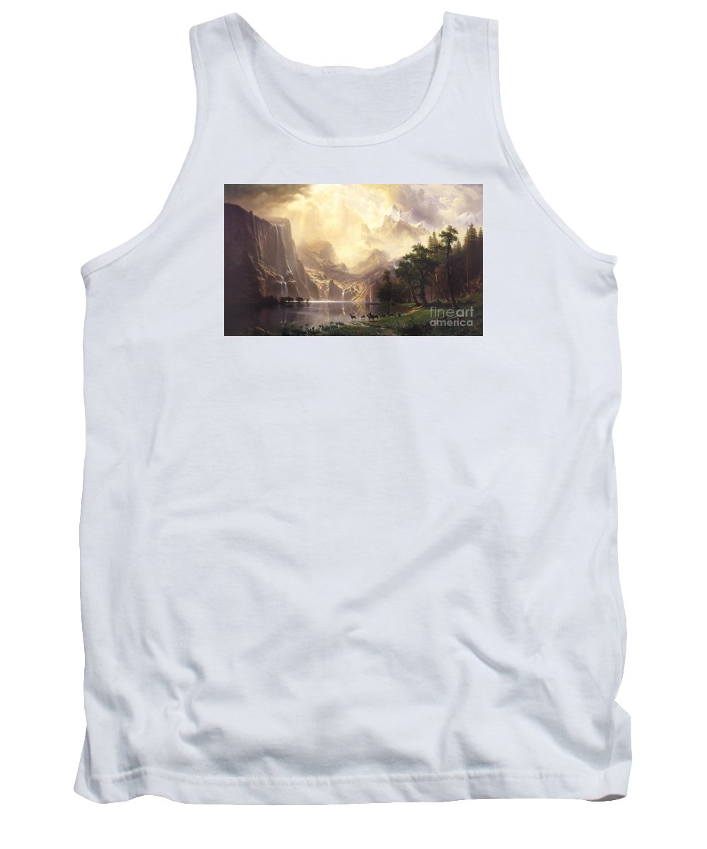 Albert_bierstadt Tank Top featuring the painting Among_the_sierra_nevada_mountains by Celestial Images