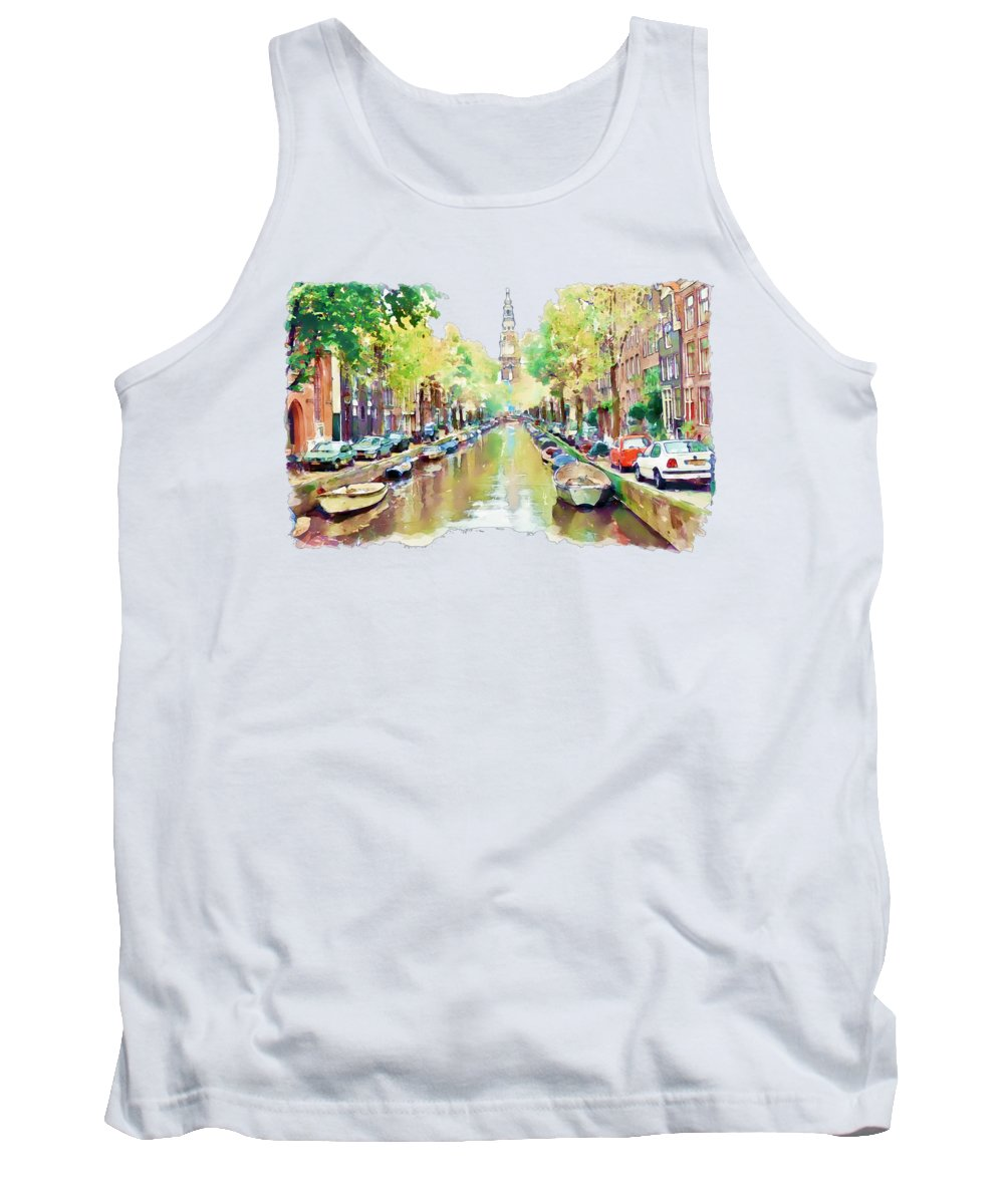Amsterdam Canal Tank Top featuring the painting Amsterdam Canal 2 by Marian Voicu