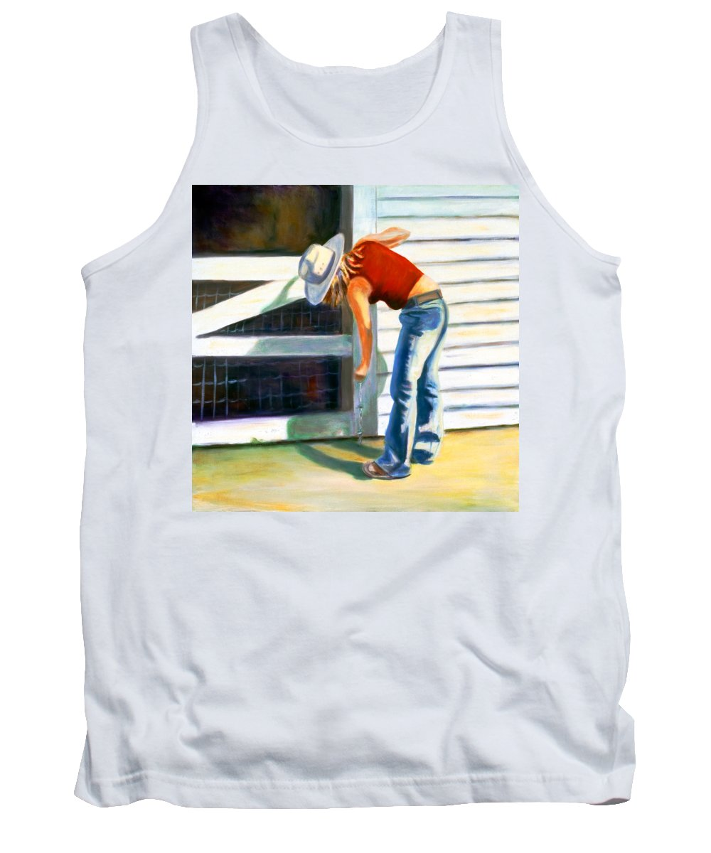 Red Tank Top featuring the painting An American Girl by Shannon Grissom