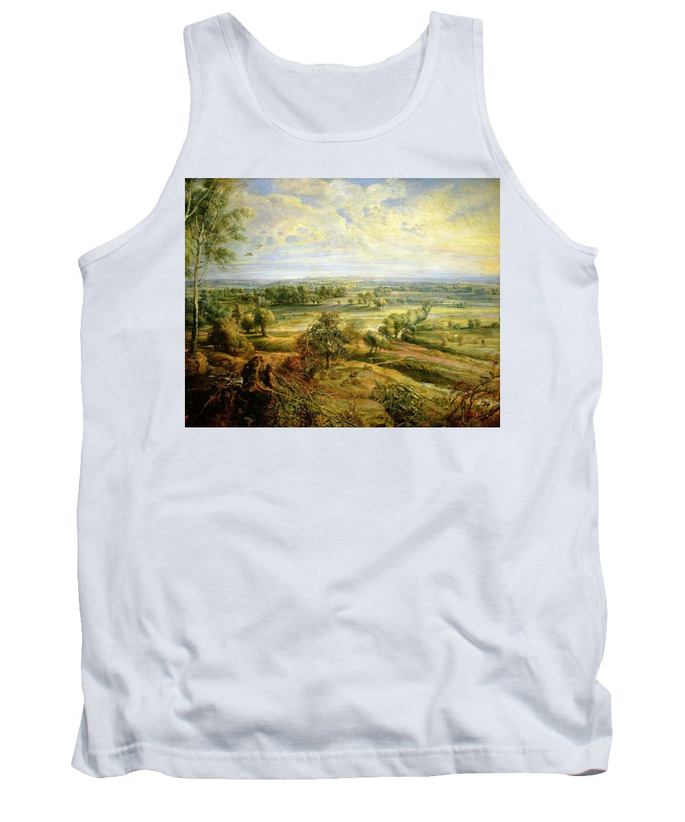 Autumn Tank Top featuring the painting An Autumn Landscape With A View Of Het Steen In The Early Morning by Rubens