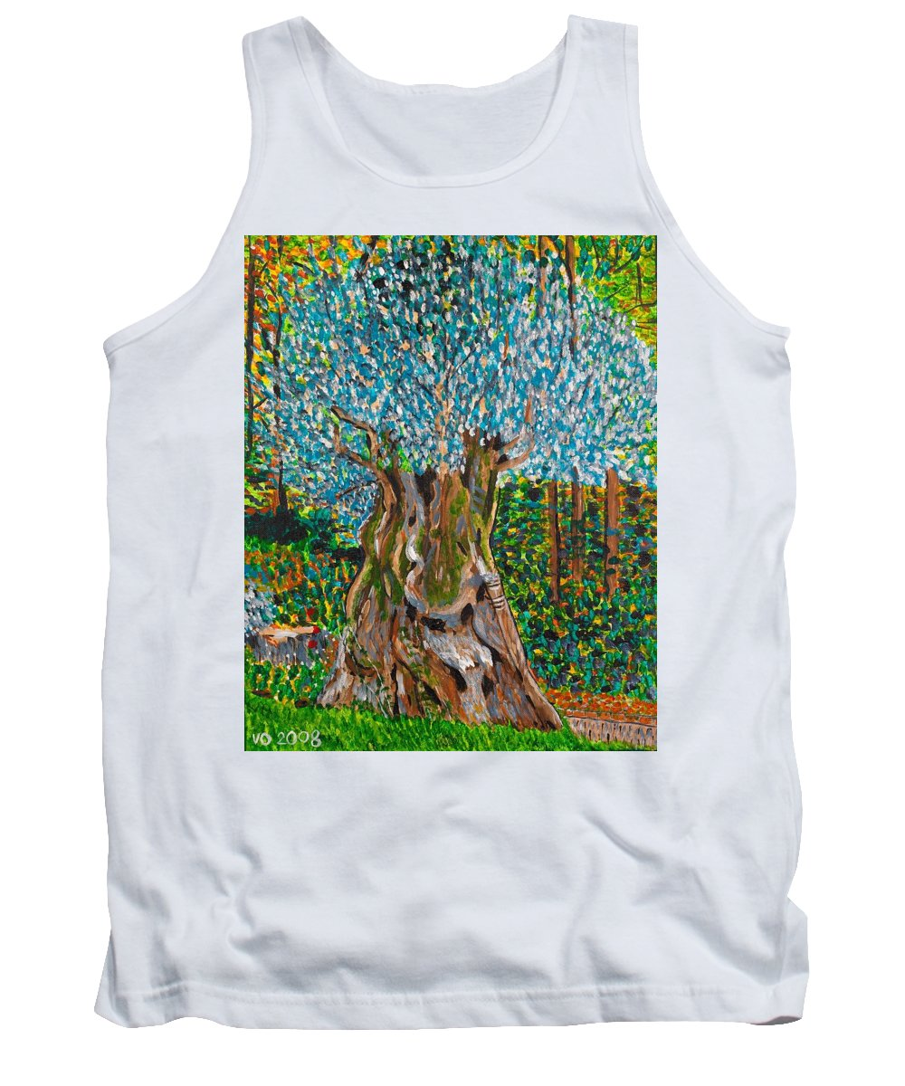 Olive Tank Top featuring the painting Ancient Olive Tree by Valerie Ornstein