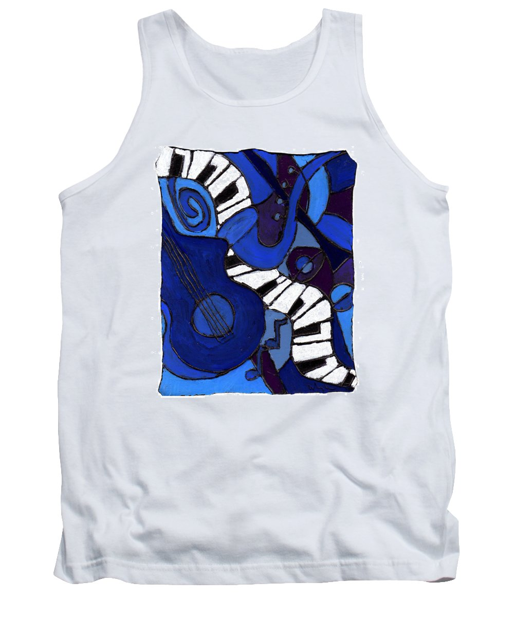 Jazz Tank Top featuring the painting and All That Jazz two by Wayne Potrafka
