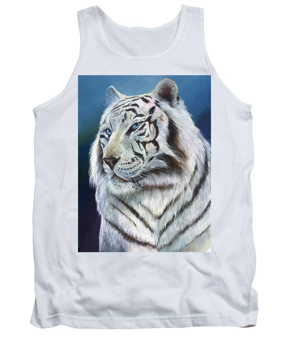 Big Cat Tank Top featuring the painting Angel The White Tiger by Sherry Shipley