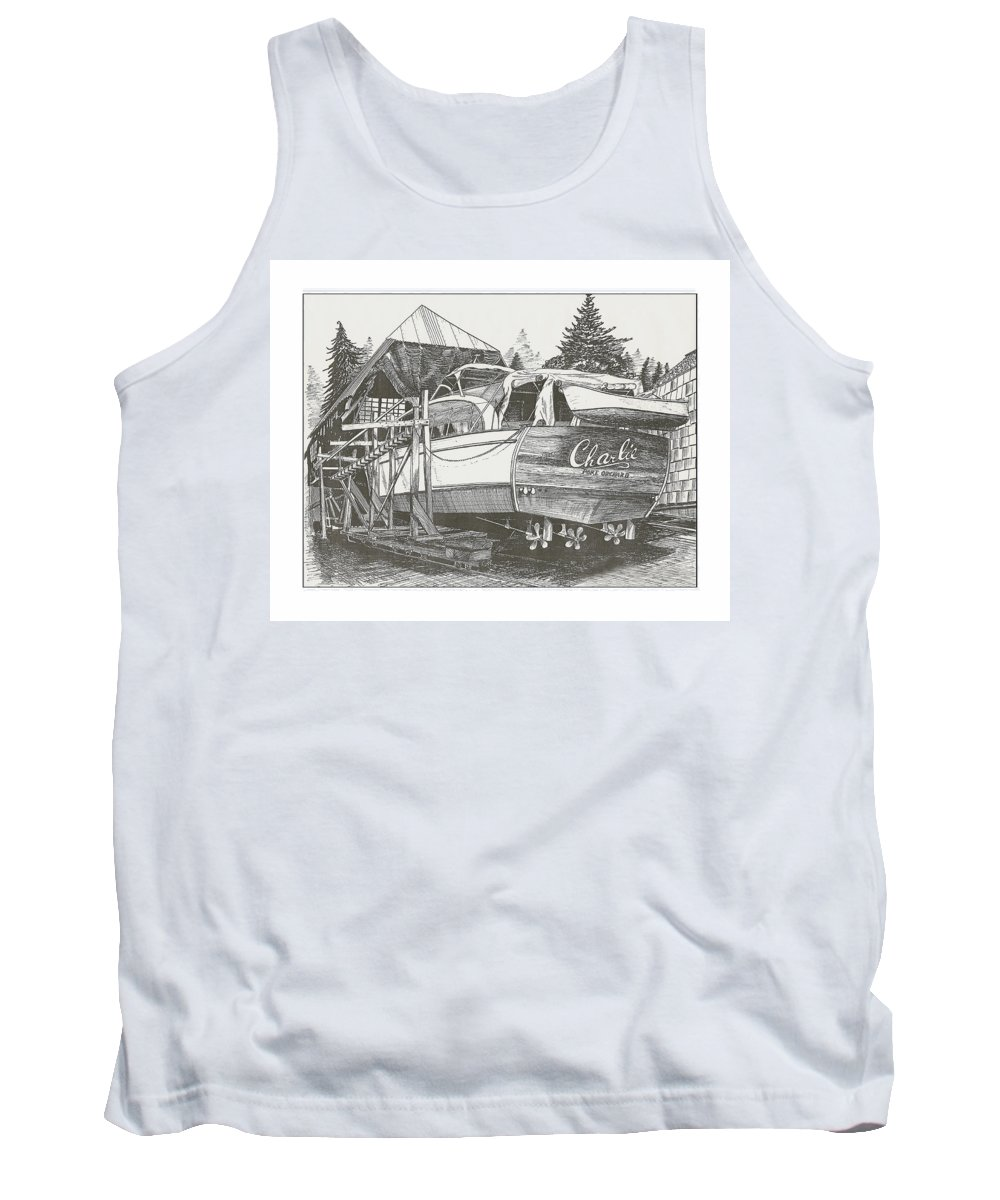 Nautical Yacht Portraits Tank Top featuring the drawing Annual Haul Out Chris Craft Yacht by Jack Pumphrey