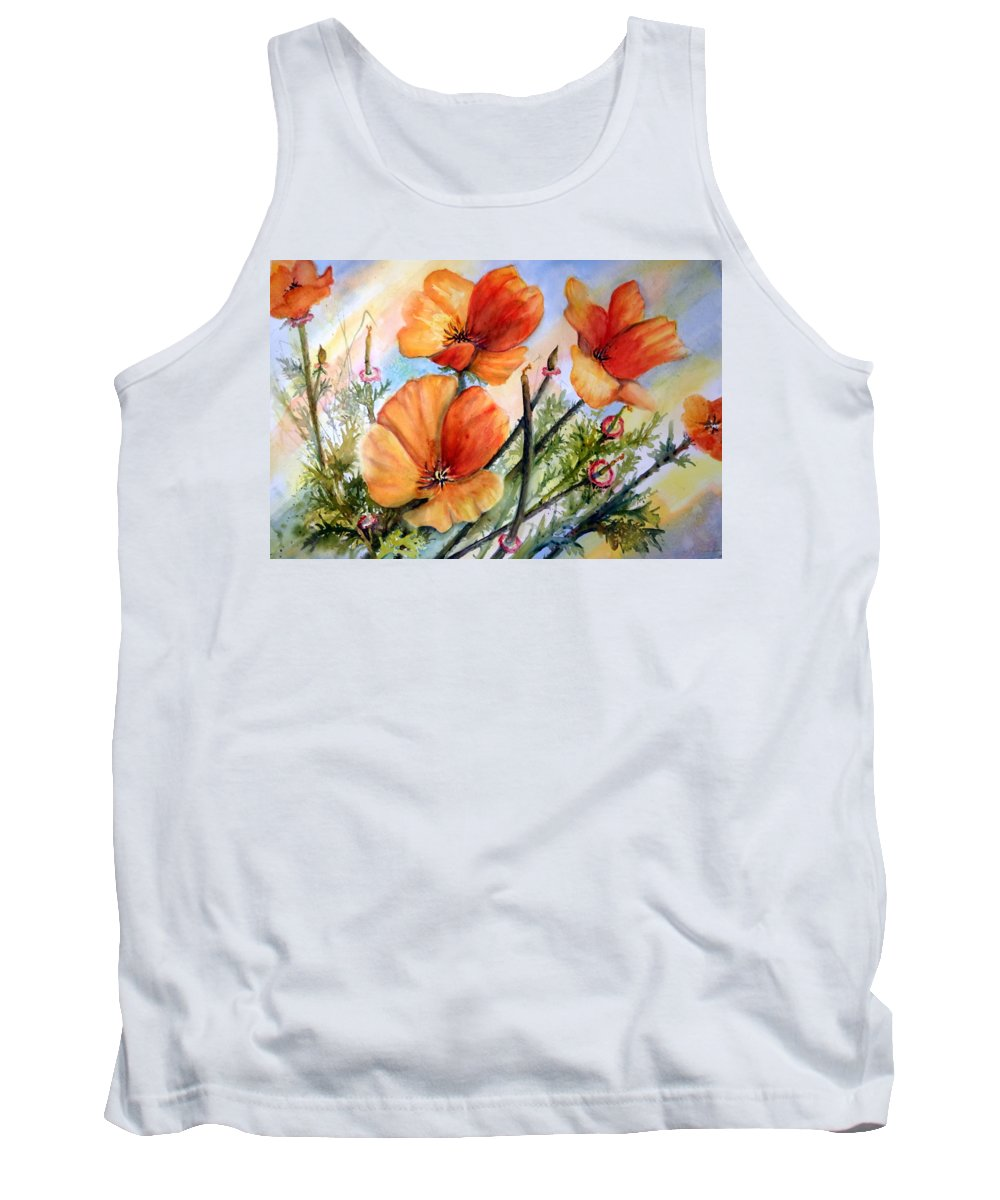 Desert Wildflowers Tank Top featuring the painting Antelope Valley Poppy Fields by Anna Jacke
