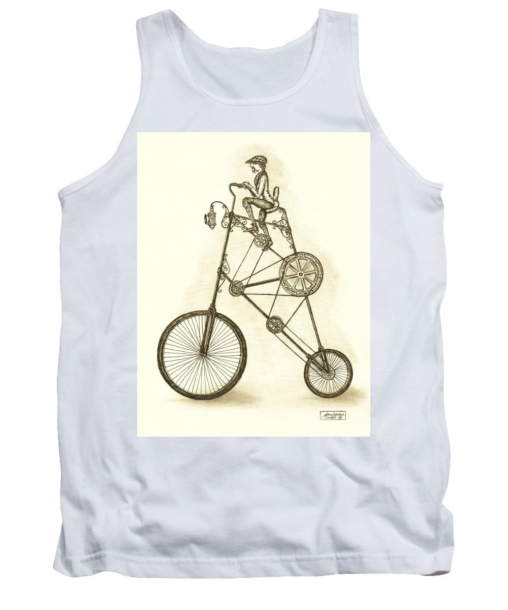 Pen & Ink Tank Top featuring the drawing Antique Contraption by Adam Zebediah Joseph