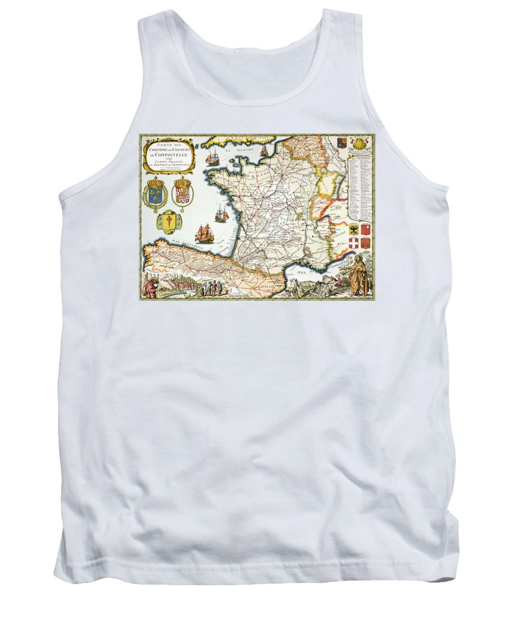 Maps Tank Top featuring the drawing Antique Map Of France by French School