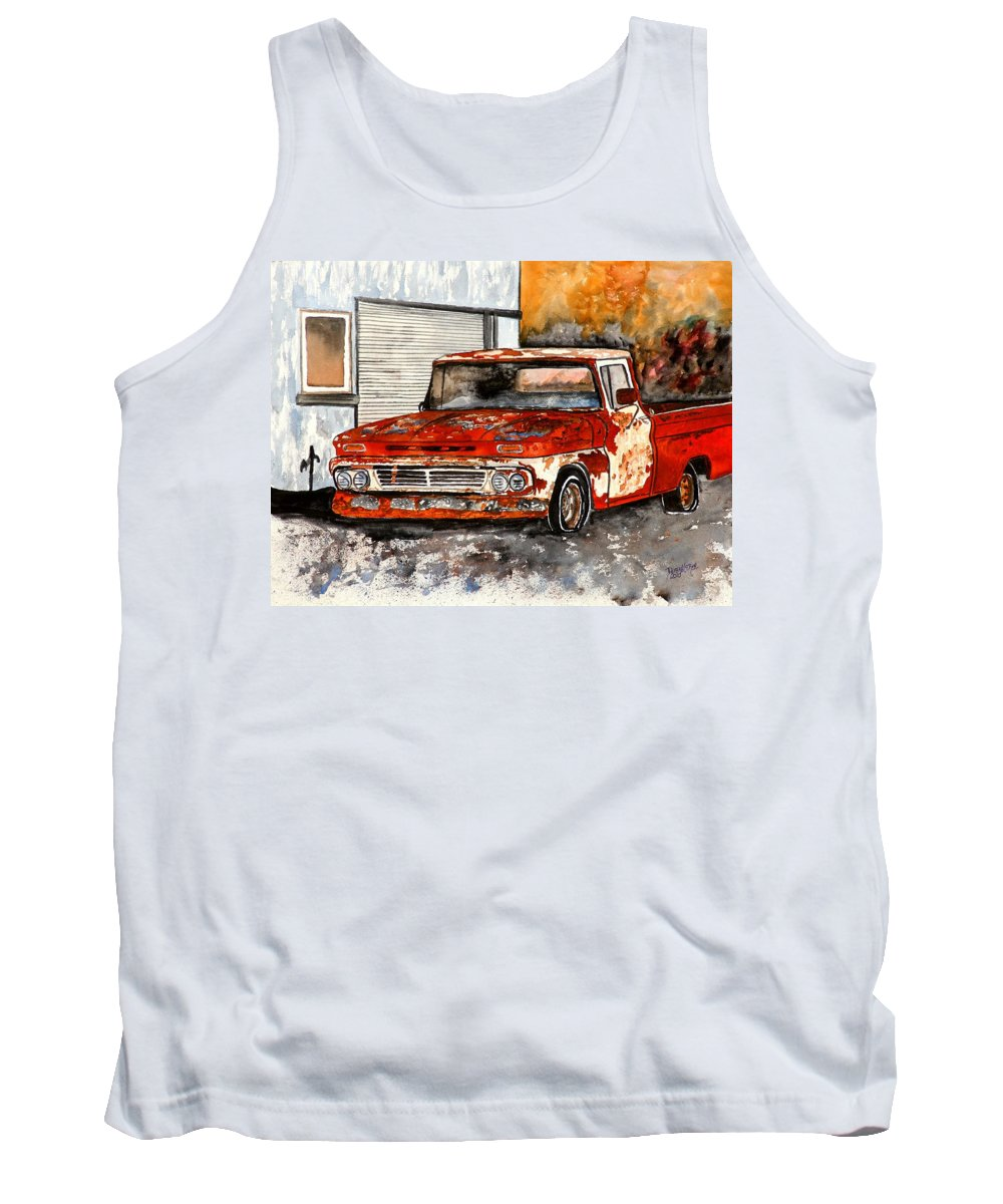Transportation Tank Top featuring the painting Antique Old Truck Painting by Derek Mccrea