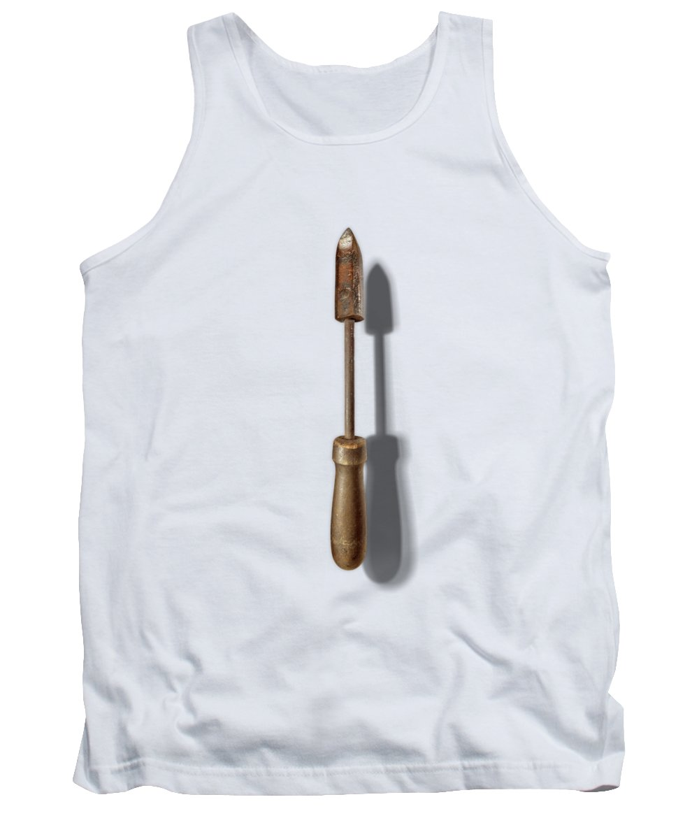 Hand Tool Tank Top featuring the photograph Antique Soldering Iron Floating on White by YoPedro