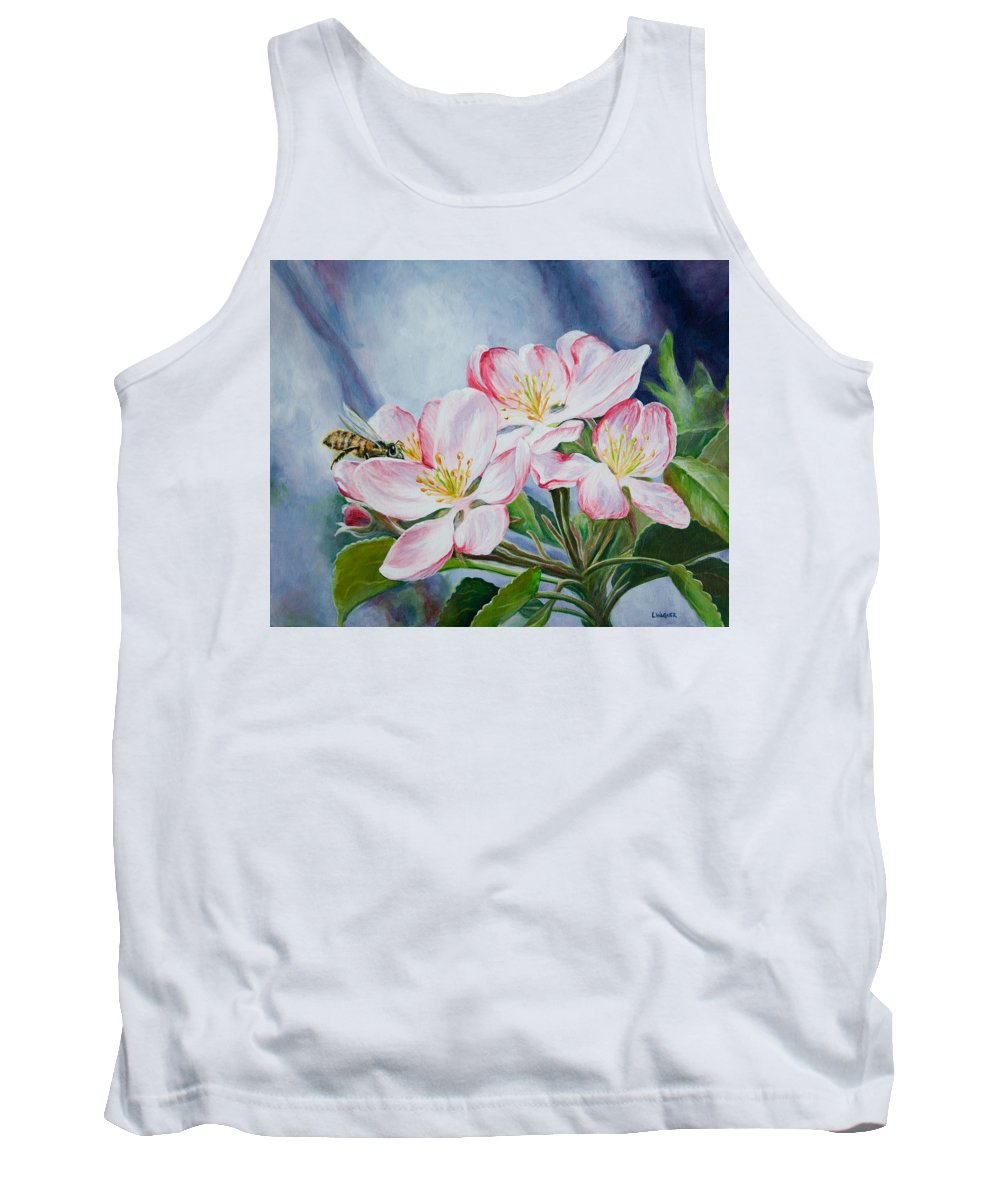 Apple Blossoms Tank Top featuring the painting Apple Blossoms With Honeybee by Karl Wagner