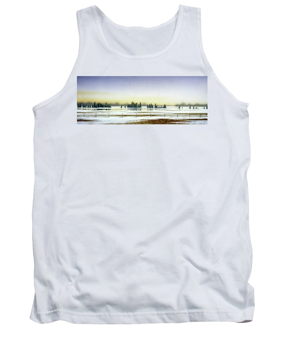 Rural Landscape Tank Top featuring the painting April Evening by Conrad Mieschke