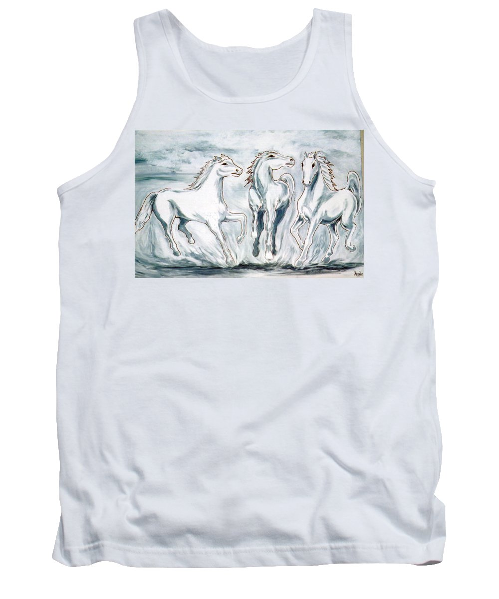 Horses Tank Top featuring the painting Arabian Roots by Marco Morales