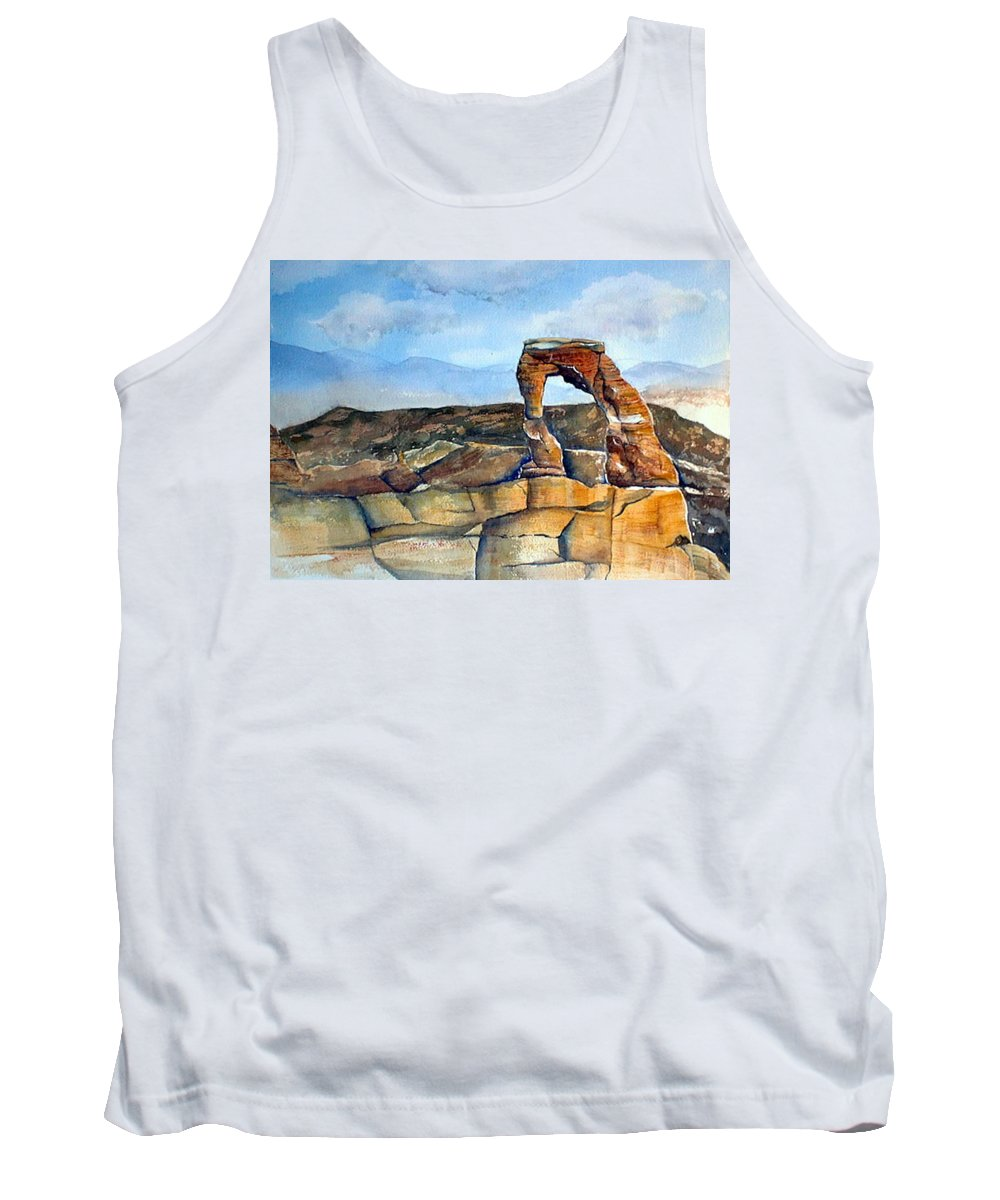 Arches National Park Tank Top featuring the painting Arches National Park by Debbie Lewis