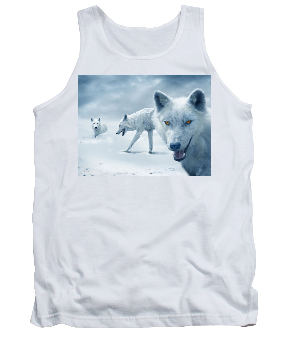Arctic Tank Top featuring the photograph Arctic Wolves by Mal Bray