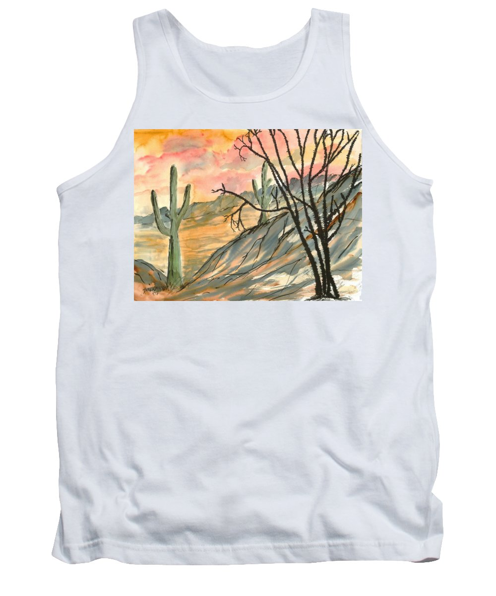 Drawing Tank Top featuring the painting Arizona Evening Southwestern landscape painting poster print by Derek Mccrea