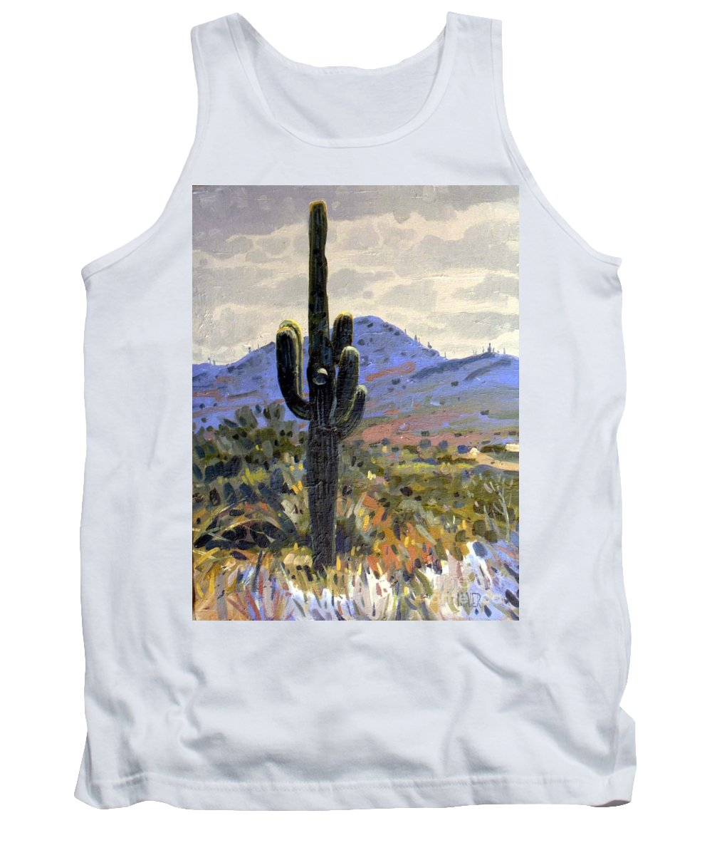 Saguaro Cactus Tank Top featuring the painting Arizona Icon by Donald Maier