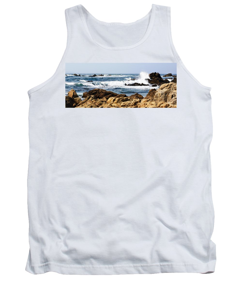 Tide Tank Top featuring the photograph Arriving Tide At Pebble Beach by Marilyn Hunt