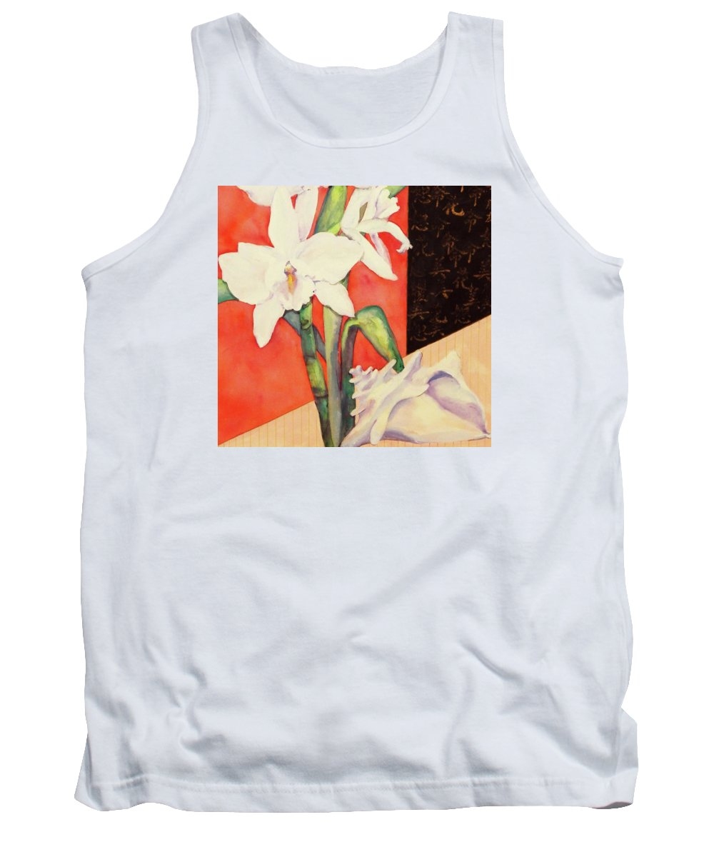 Orchids Tank Top featuring the painting Orchid Medley by Sharon Nelson-Bianco