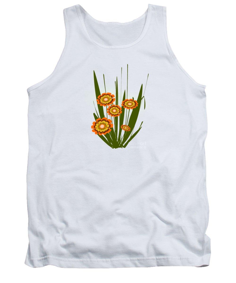 Malakhova Tank Top featuring the digital art Orange Flowers by Anastasiya Malakhova