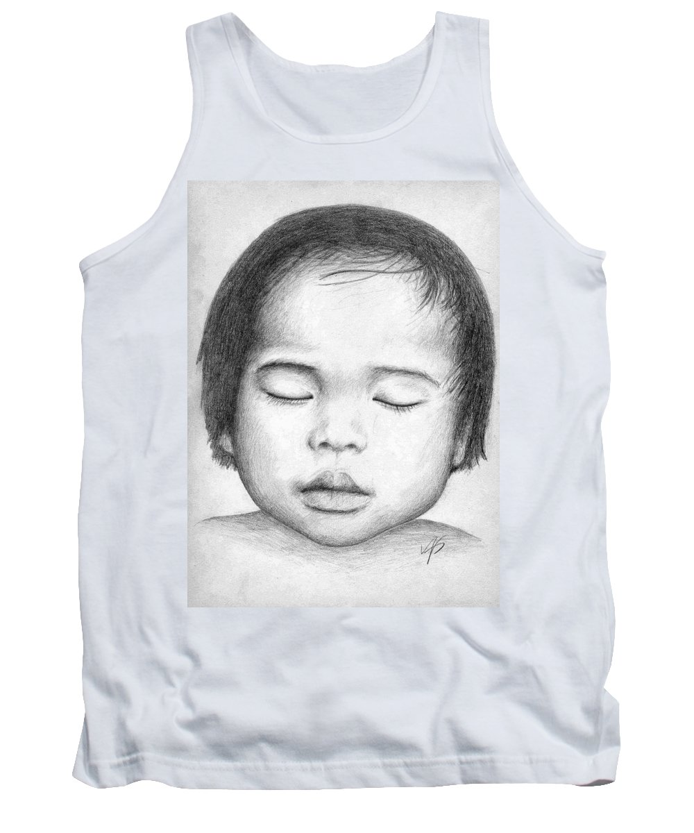 Baby Tank Top featuring the drawing Asian Baby by Nicole Zeug