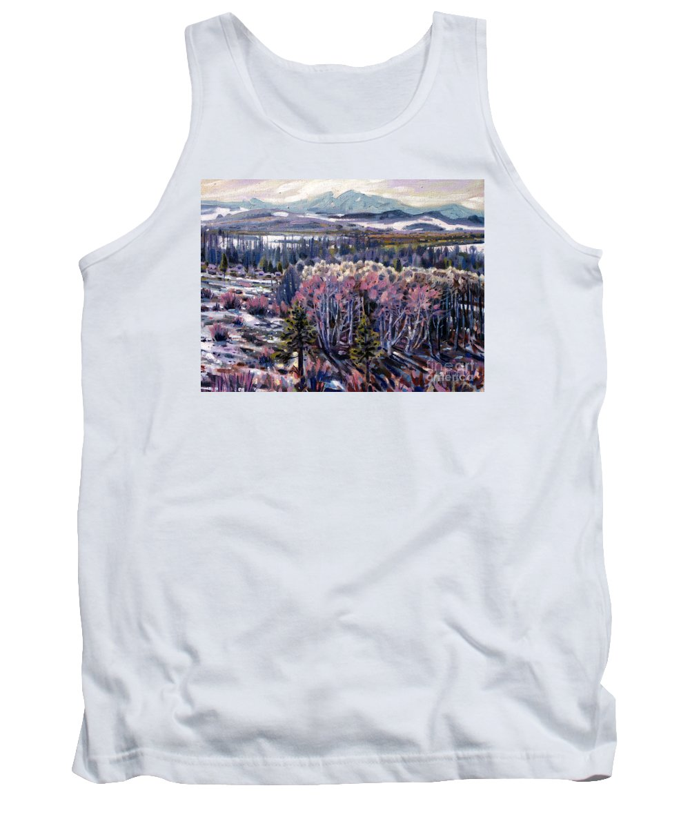 Aspen Tank Top featuring the painting Aspen In April by Donald Maier