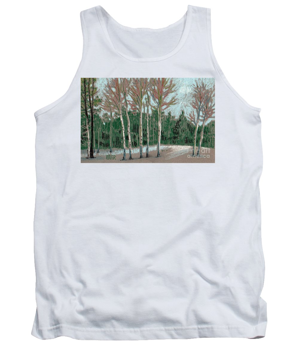 Aspens Tank Top featuring the drawing Aspen In The Snow by Donald Maier