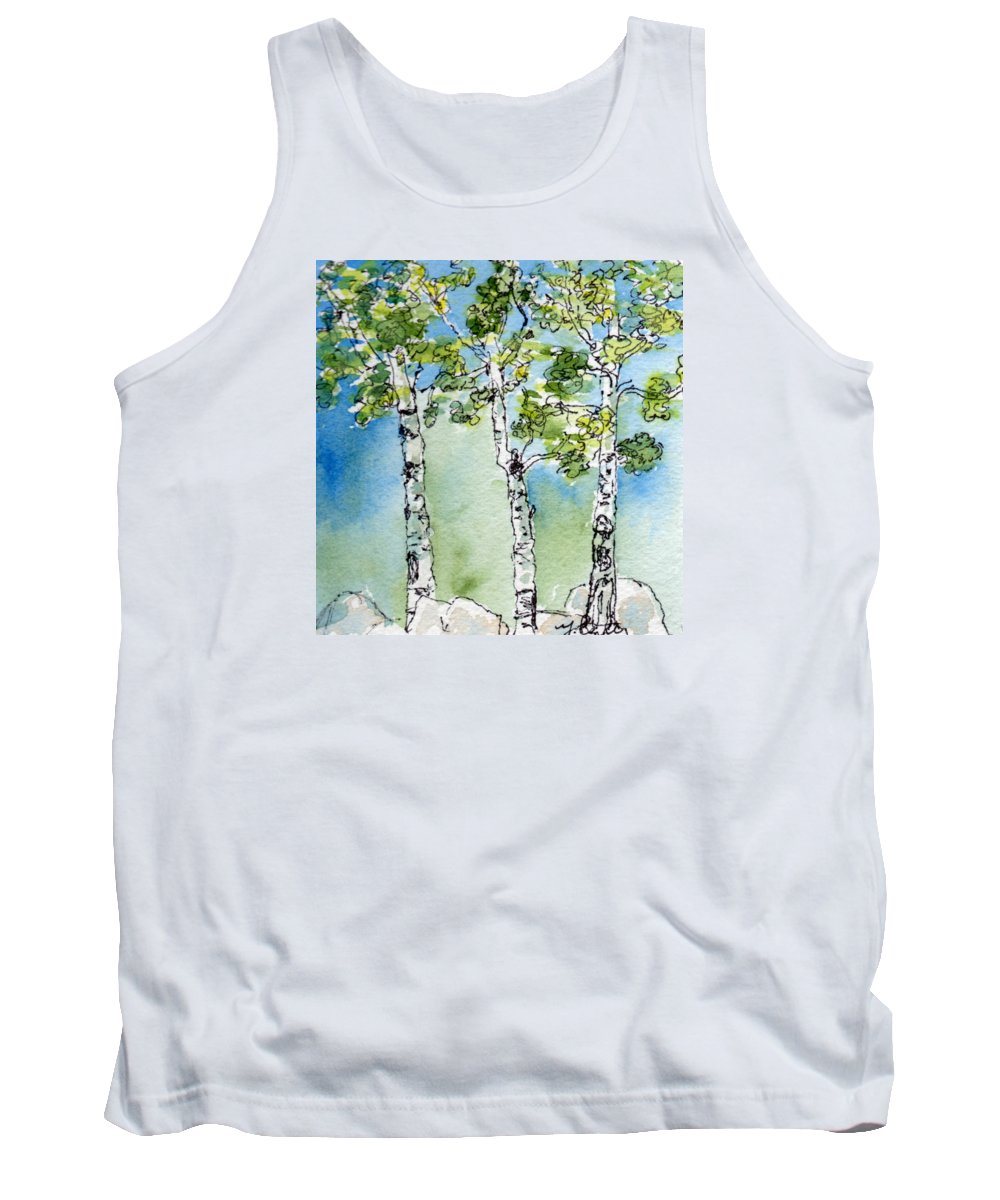 Art Tank Top featuring the painting Aspen Trio by Mary Benke
