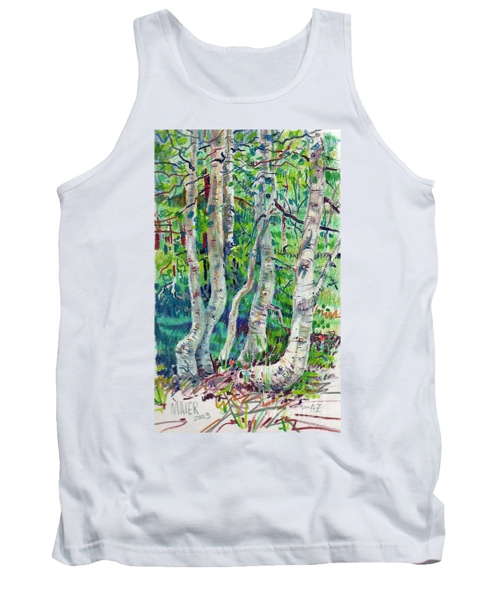 Aspens Tank Top featuring the drawing Aspens by Donald Maier