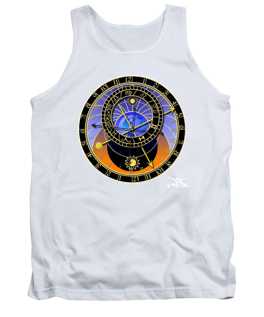 Abstruse Tank Top featuring the digital art Astronomical Clock by Michal Boubin