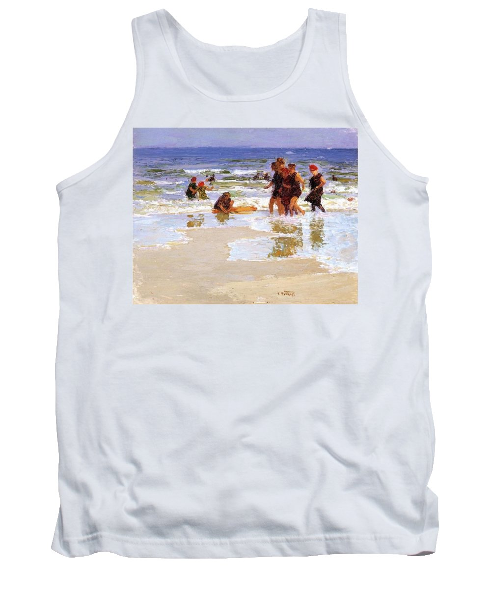 Beach Tank Top featuring the digital art At The Seashore Edward Henry Potthast by Eloisa Mannion