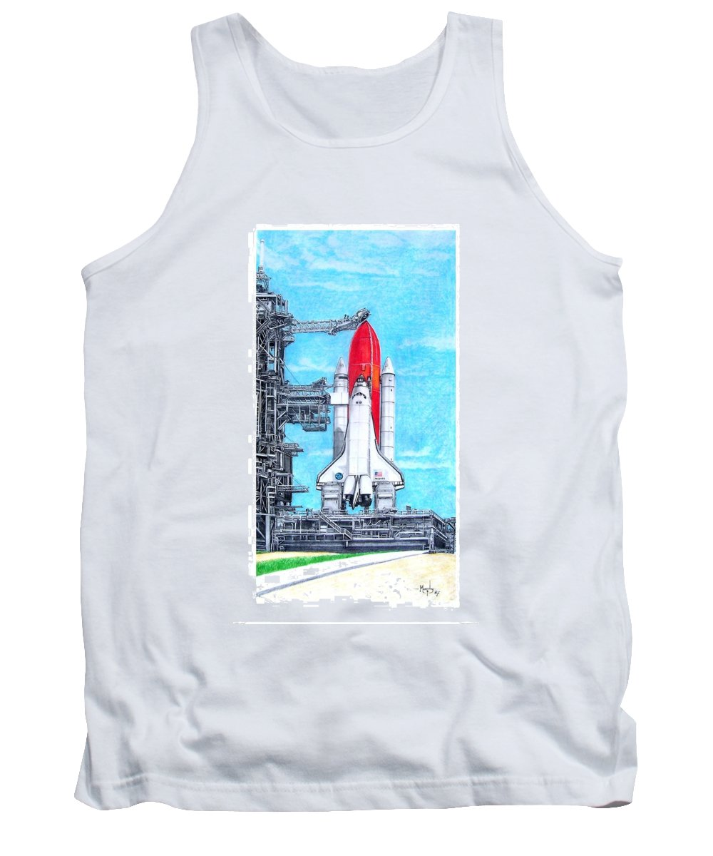 Drawing Tank Top featuring the drawing Atlantis by Murphy Elliott