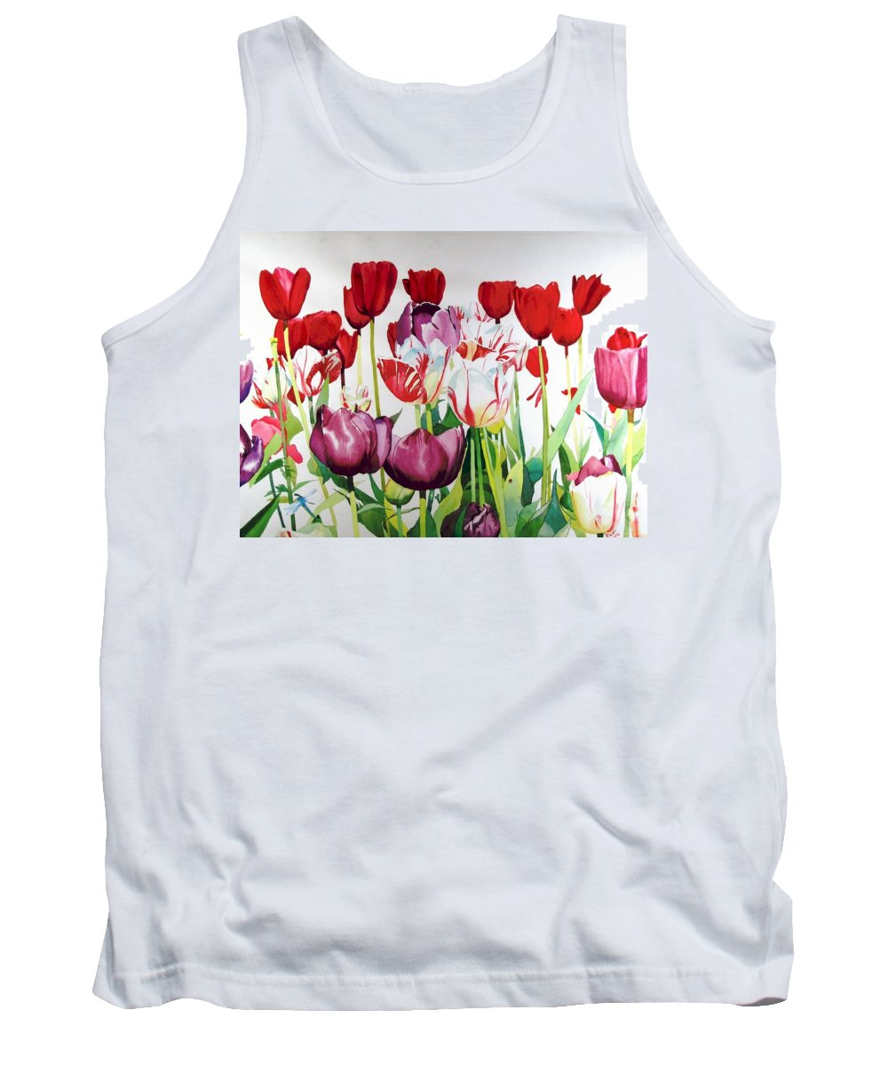 Tulips Tank Top featuring the painting Attention by Elizabeth Carr