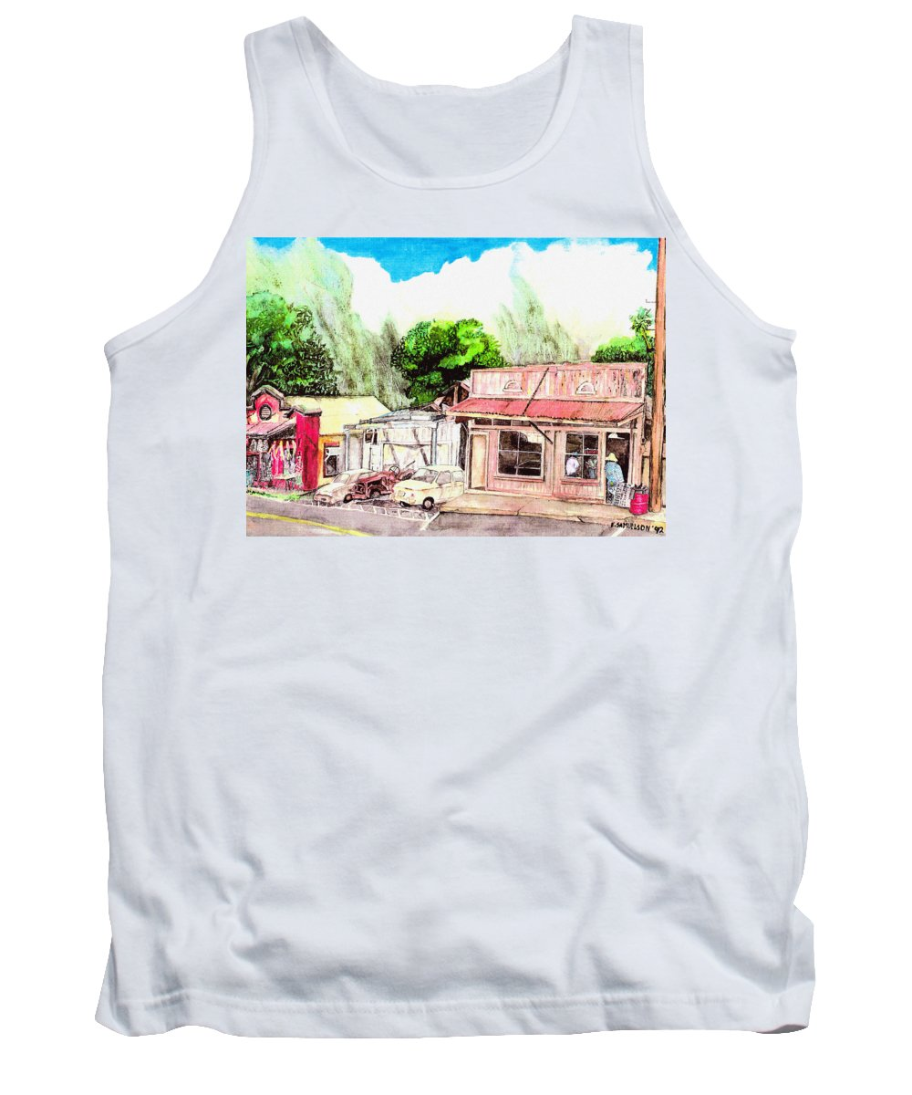 Historic Tank Top featuring the painting Auggies Pool Hall by Eric Samuelson