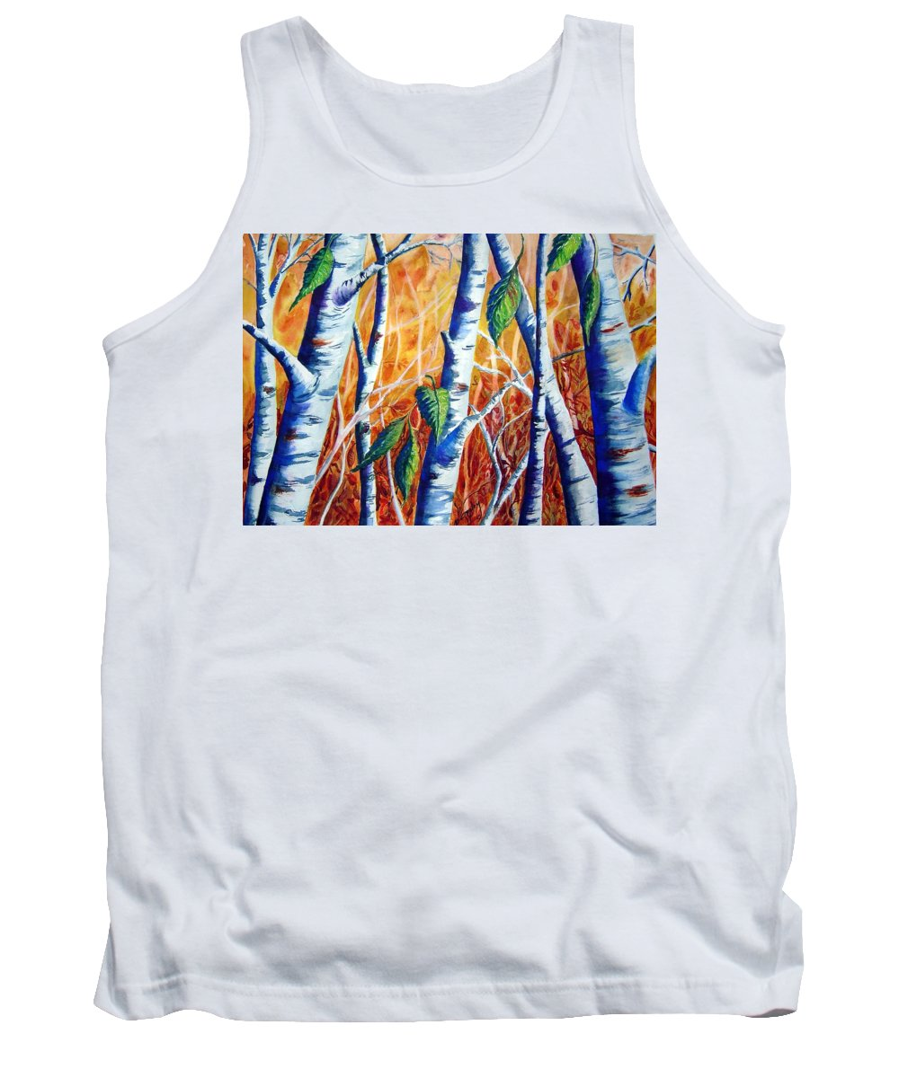 Autumn Birch Trees Tank Top featuring the painting Autumn Birch by Joanne Smoley
