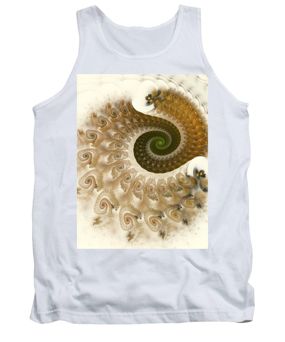Fractal Tank Top featuring the digital art Autumn Breeze by Amorina Ashton