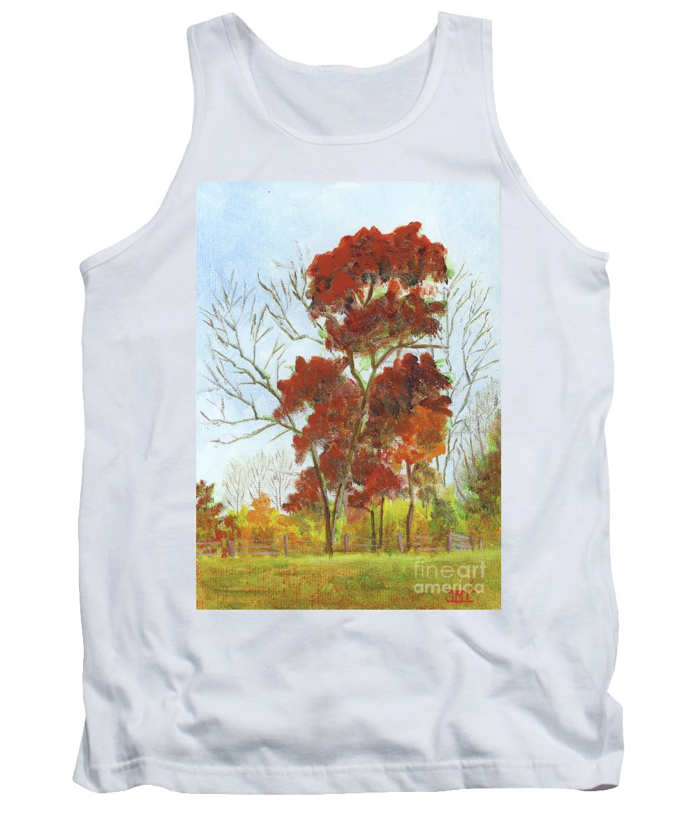 Autumn Tank Top featuring the painting Autumn Red by Jackie Irwin