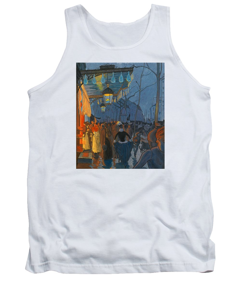 Louis Anquetin Tank Top featuring the drawing Avenue De Clichy. Five O'clock In The Evening by Louis Anquetin