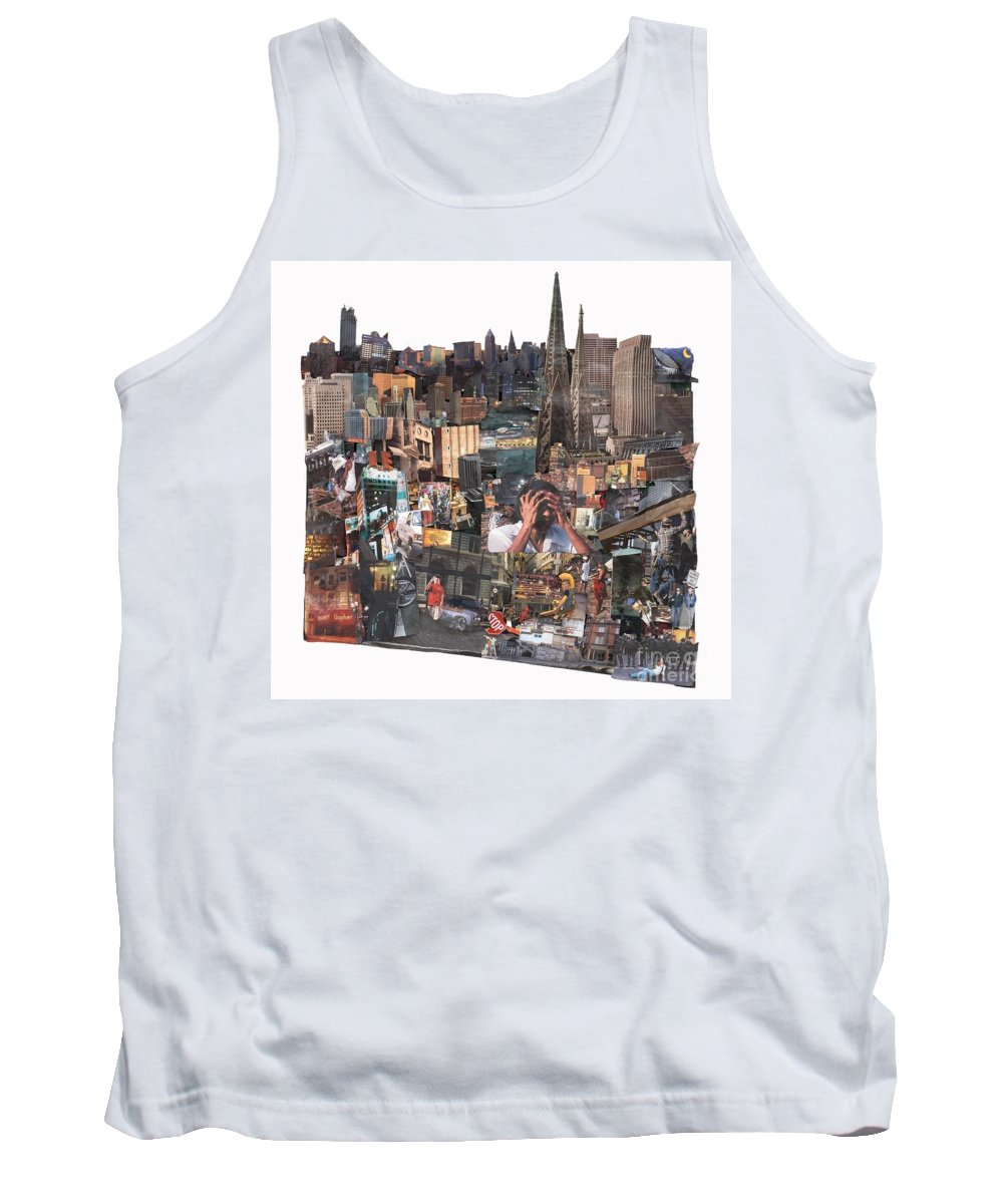 City Tank Top featuring the mixed media Avoidance Aka Sit And Stand by Jaime Becker