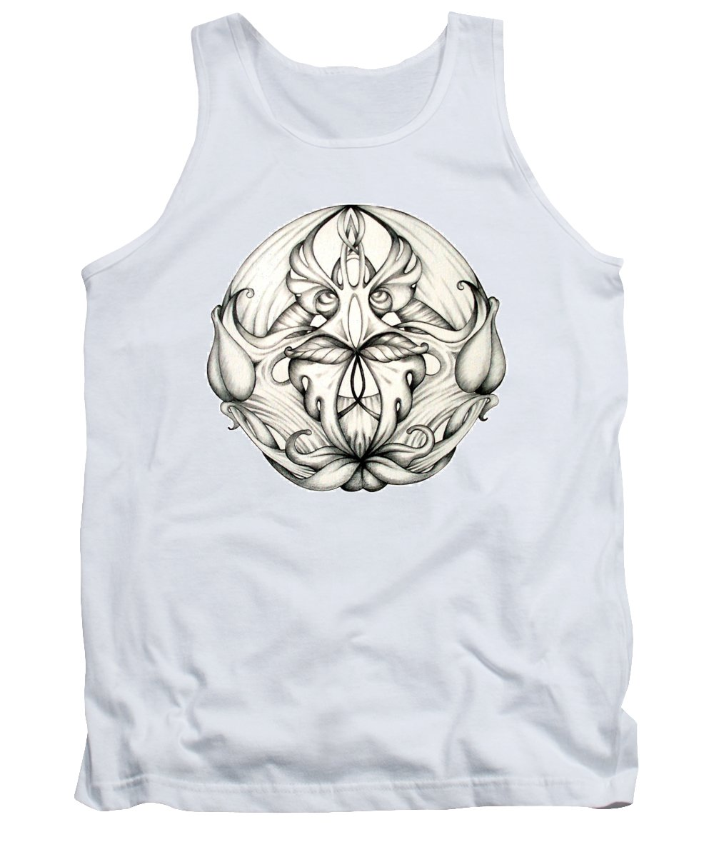 Mandala Tank Top featuring the drawing Awakening by Shadia Derbyshire