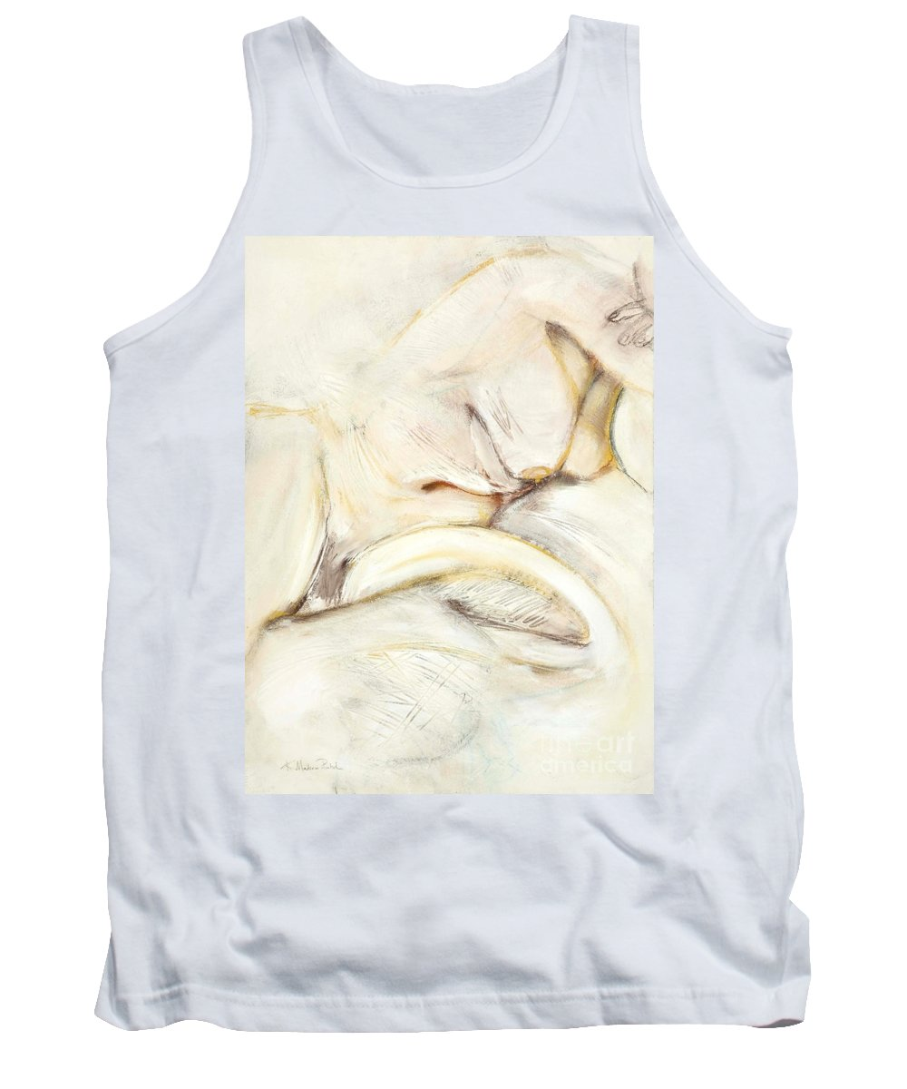 Female Tank Top featuring the drawing Award Winning Abstract Nude by Kerryn Madsen-Pietsch