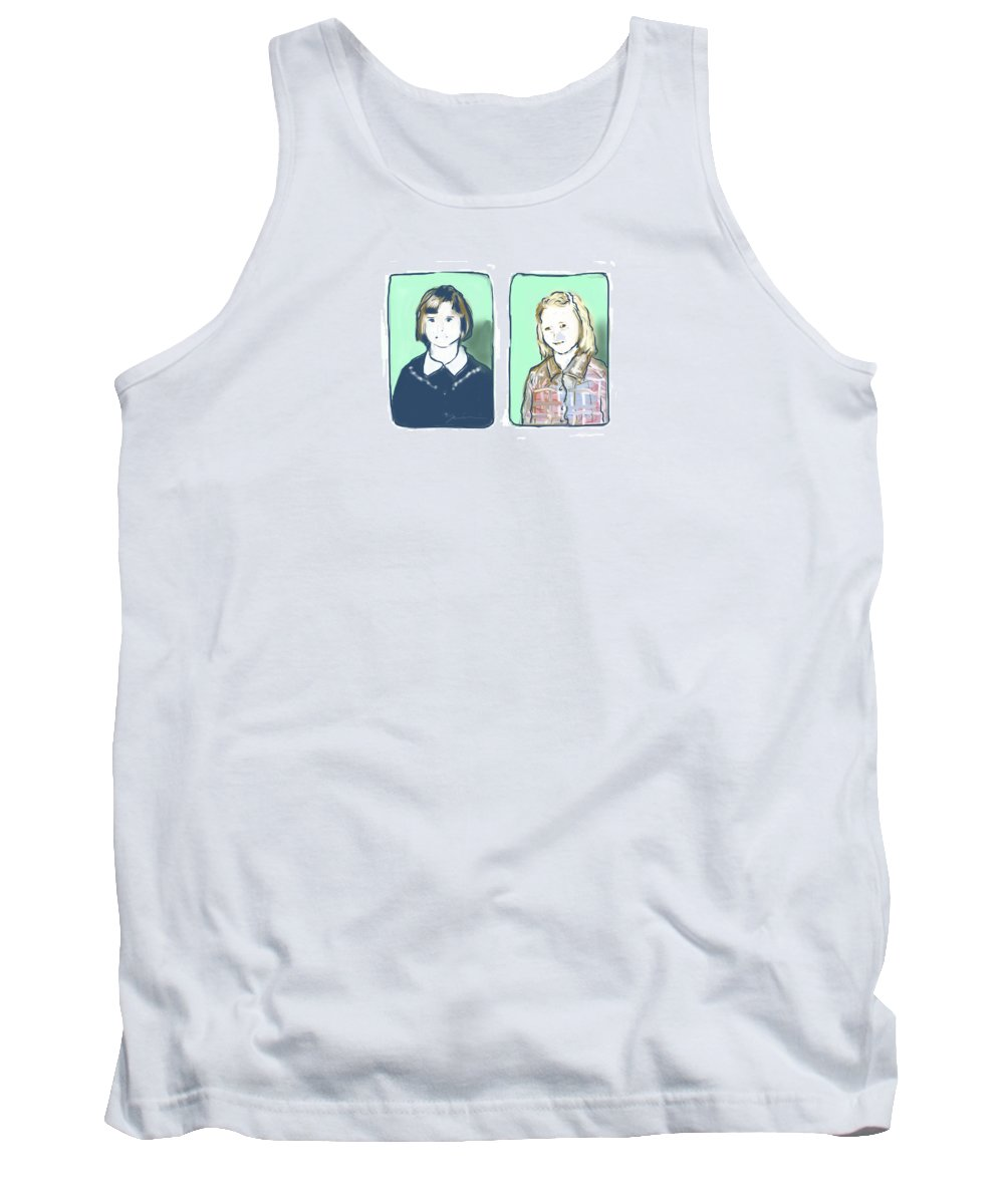 Portrait Tank Top featuring the digital art Awkwardness Of Youth by Jean Pacheco Ravinski