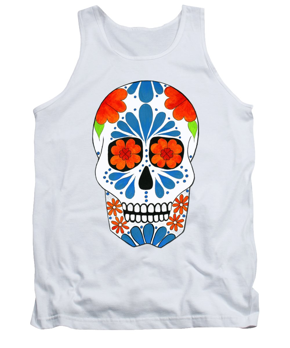 Aztec Tank Top featuring the painting Aztec Inspired Sugarskull by Purrnickerty Cat