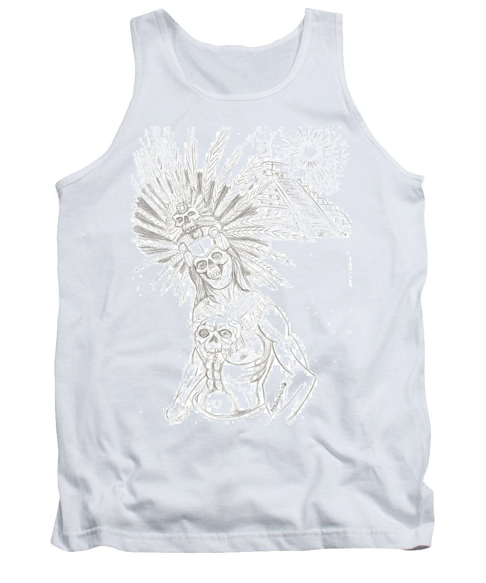 Aztec Tank Top featuring the drawing Aztec Warrior In Front Of Chicchen Itza by Americo Salazar