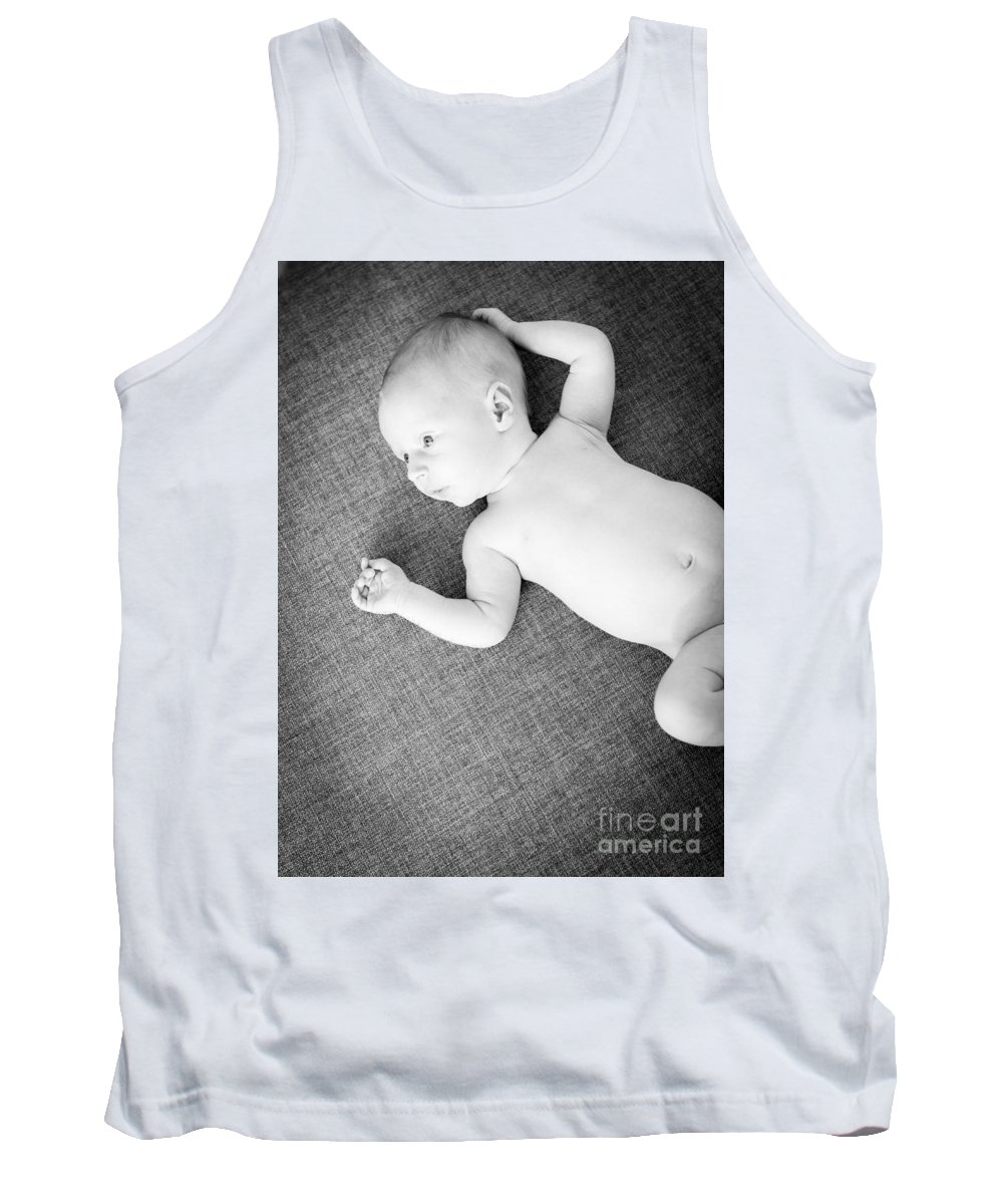 Baby Tank Top featuring the photograph Baby Boy Black And White by Tim Hester