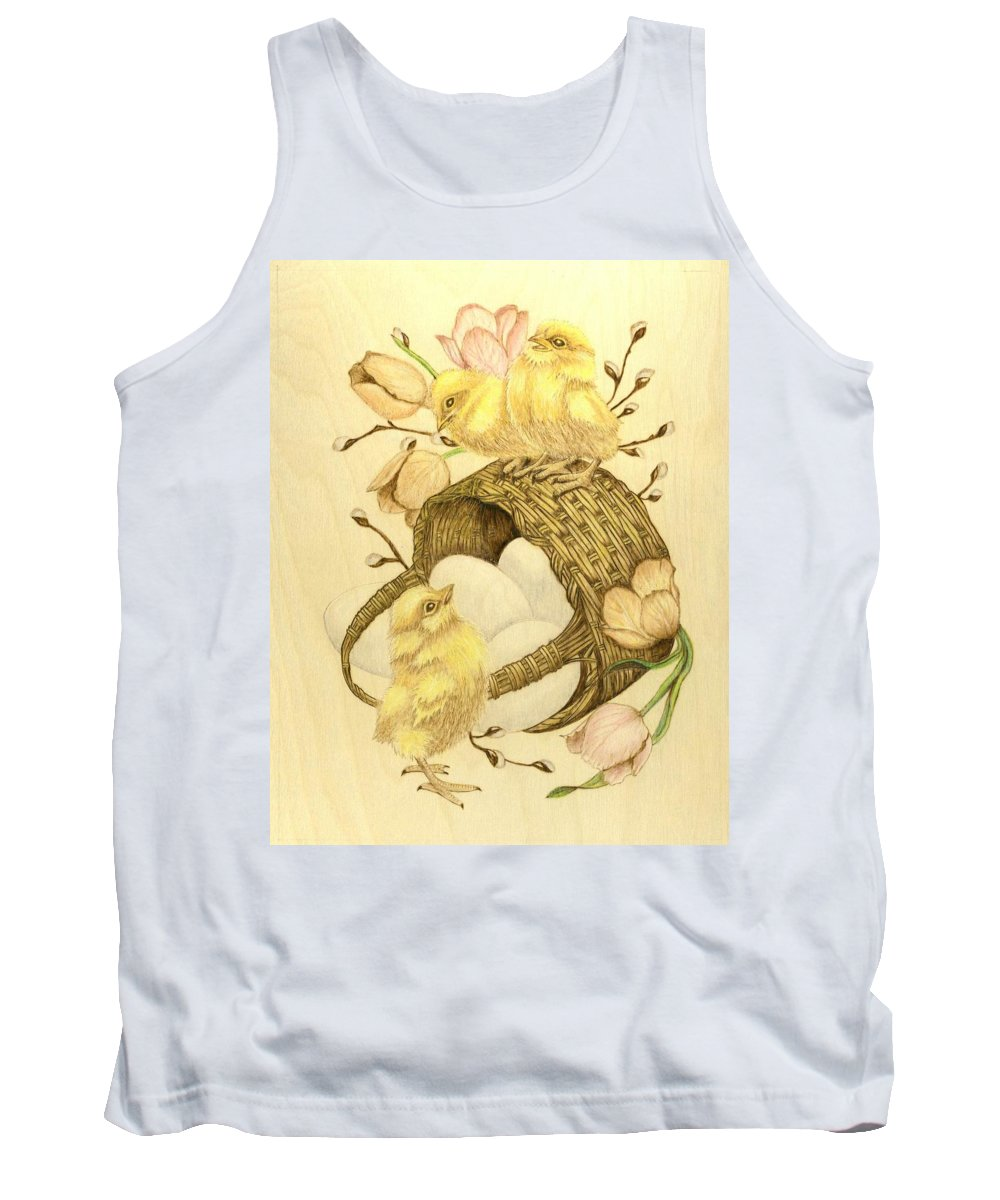 Chicks Tank Top featuring the pyrography Baby Chicks by Danette Smith
